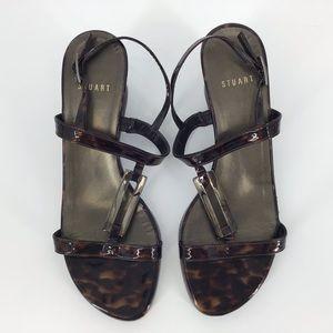 Stuart Weitzman Tortoise Shell Wedge Sandals, 6.5